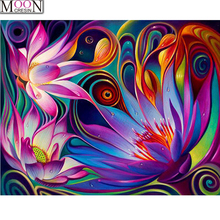 MOONCRESIN Diy Diamond Painting Cross Stitch Colorful Lotus 3D Mosaic Full Square Embroidery Decoration