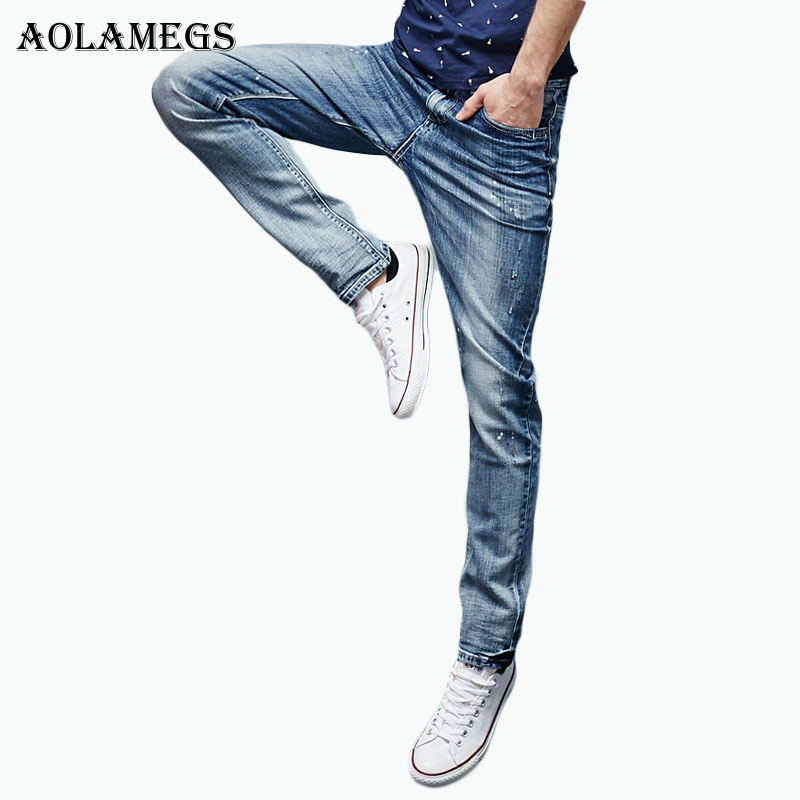 Aolamegs Men Denim Pants Men's Korean Ink Jeans Pants Male Slim Straight Stretch Cowboy Trousers  Homme Cotton New Jeans Bottoms