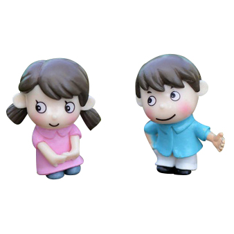 2Pcs sweety kids couple figurines miniatures fairy garden gnome moss terrariums resin crafts decoration accessories for DIY