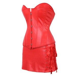 Image 5 - Ze sztucznej skóry gorset do sukienki Steampunk Sexy gorset gorset z Mini spódnica na zamek błyskawiczny Gothic egzotyczne Burlesque Espartilho Plus rozmiar