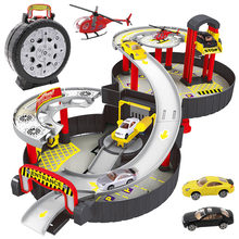Novelty Pretend Play Parking Toys For Boys Kids Tire Shape Folding Toy Car With Helicopter Toy DIY Assemble Miniature Car(China)