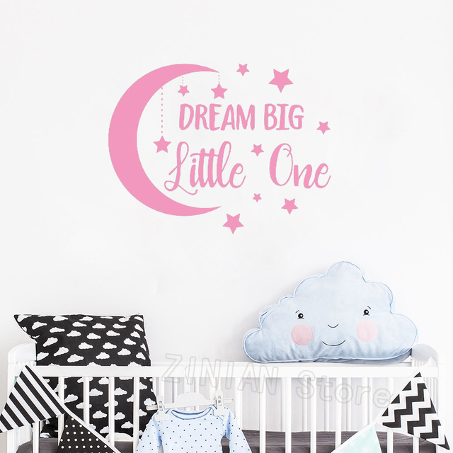 Dream Little One Wall Decal Moon And Stars Removable Baby Boy Nursery Stickers