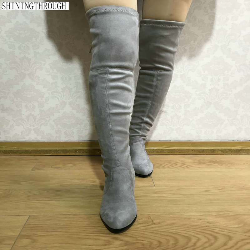 2018 New Womens Micro Suede Thigh High Boots Block Thick Heel Stretch Over the Knee Boots for Woman Plus Size 34-43