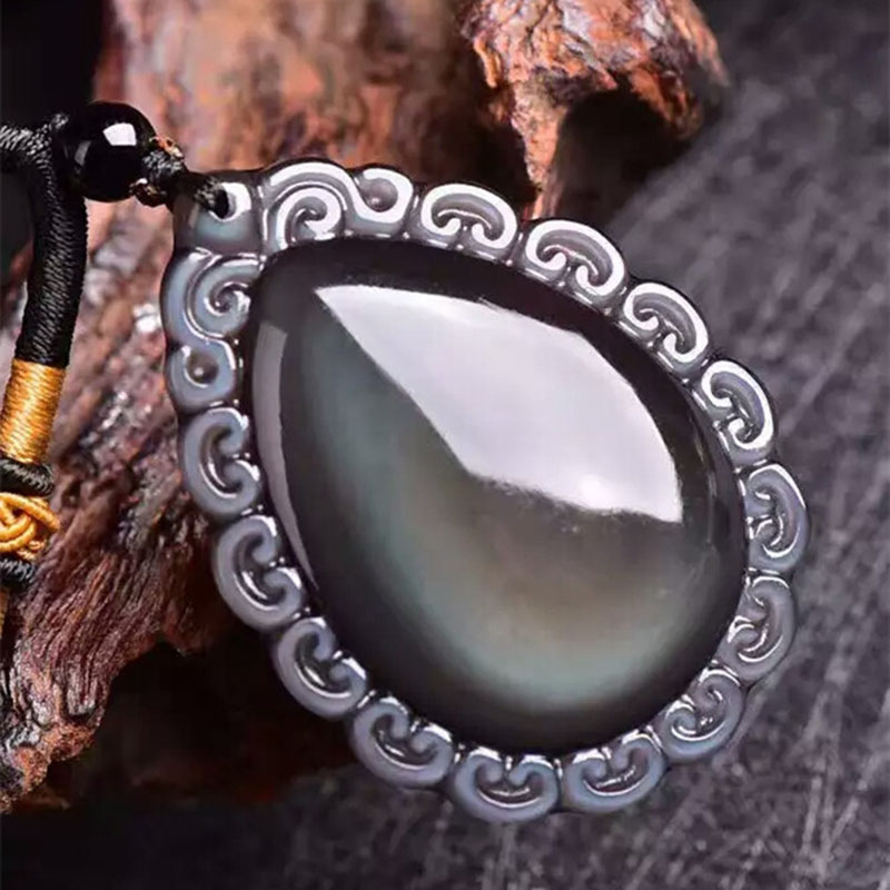 JoursNeige Rainbow Eyes Natural Obsidian Stone Necklace Water Drop Pendant Women Men Obsidian Sweater Chain Fashion Jewelry vintage faux crystal water drop sweater chain jewelry for women