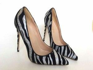 Image 2 - Keshangjia  spring autumn fashion PU pumps high heels  point  toe shoes woman striped dress shoes office lady