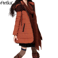 Artka Women S Top White Duck Down Thick Slim Court Stlye Hooded Needle Winter Medium Long