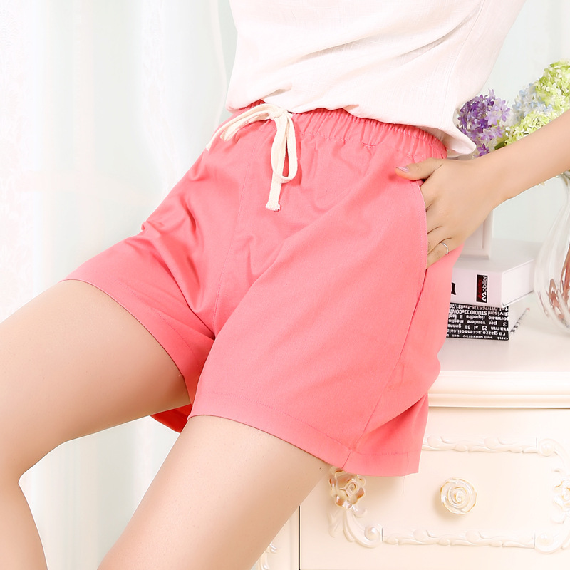 Danjeaner S-2XL Shorts Feminino Women Casual Fashion Candy Color Wide Leg Shorts Plus Size Loose Leisure Drawstring Shorts