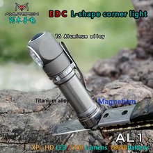 Amutorch AL1 XPL HD 1000 лм L образный Угловой светодиодный светильник вспышка из алюминиевого сплава/титанового сплава, задний магнит, рабочий светильник с аккумулятором 18650