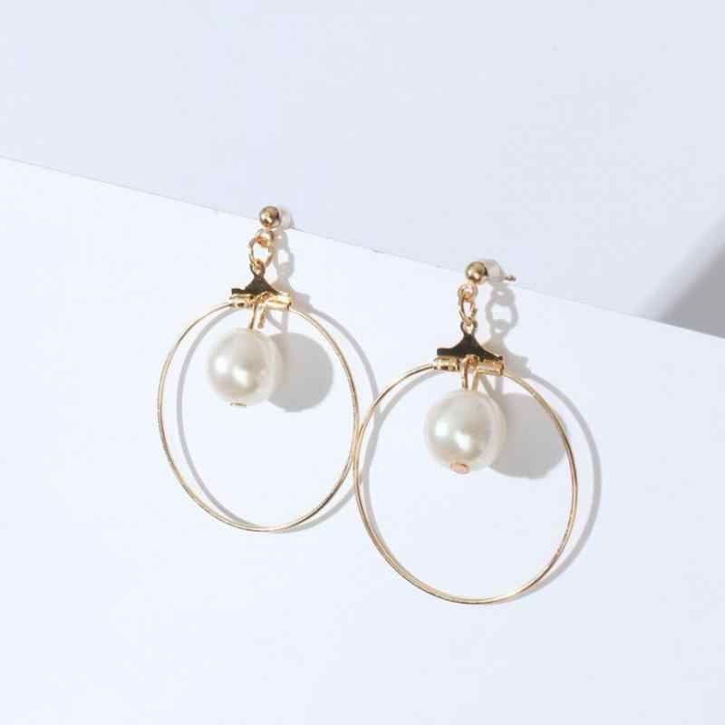 Simple Geometric Circle Triangle Square Simulation Pearl Earrings Fashion Jewelry Earrings For Women 2017