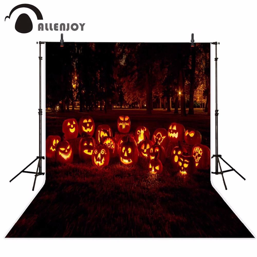 Allenjoy photography backdrops Halloween background cute pumpkin lanterns decoration grassland forest backgrounds fond plastic standing human skeleton life size for horror hunted house halloween decoration