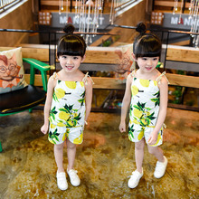 Summer Flower Lace Up Baby Girls Tops Tee Shorts Sets Toddler Infant Sleeveless Tank T Shirts Kids Clothing Sets Beach Wear 2pcs