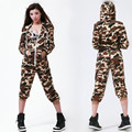 2016 Hip Hop Dance Costume performance wear Thin playsuit loose overalls harem jazz jumpsuit Camouflag one piece Pants