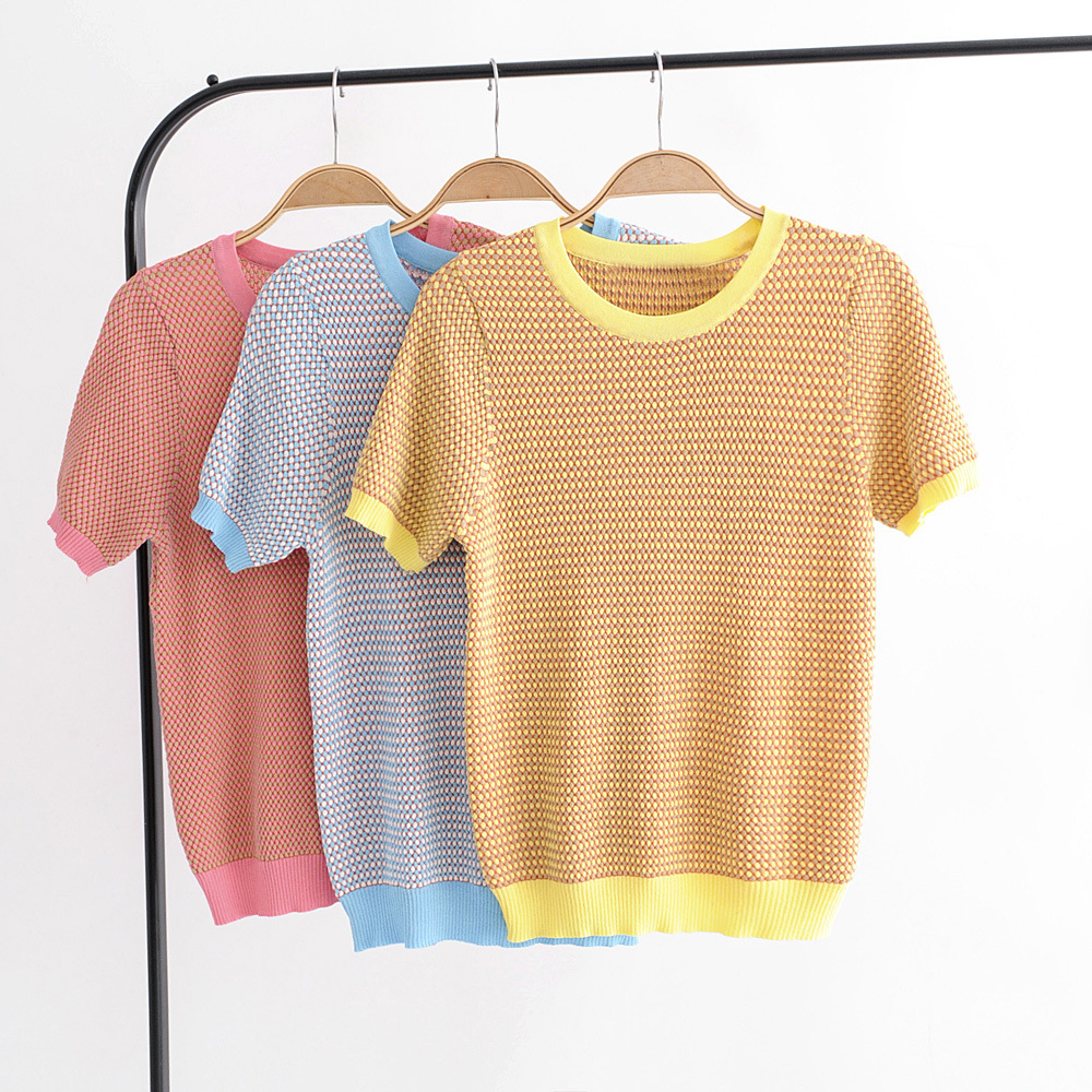 Runway 2018 New Summer T Shirt Women Short Sleeve Jumper Shiny Knit Pullover Knit Top Slim T Shirt Female Sparkle Tees in T Shirts from Women 39 s Clothing