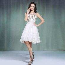 Scoop Neck Tüll Chiffon Kurzen Abend Kleid Mit Appliques 2016 Elegante Perlen Abendkleider