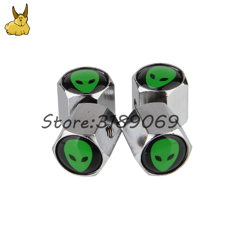 Car styling Universal Wheel Tire Valves Tyre Stem Air Caps Airtight Cover for Alien logo skoda octavia Vw golf 4 passat b5 audi