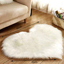 Heart Half Round Rugs Wool Imitation Sheepskin Hairy Carpet Faux Floor Non Slip Bedroom Mat Fur Plain Fluffy Soft Area Tapetes(China)