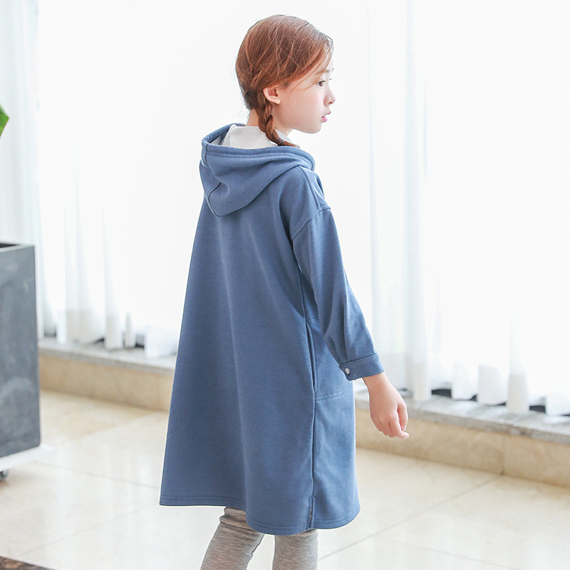 Autumn Spring Hooded Dresses Girls Long Sleeve Children Dress Princess Girl Clothing Brand Kids Blue Clothes 4 6 8 10 12 14 Year autumn girl dress children s clothing new spring children baby princess wool dresses big girls party long sleeve pretty outfits