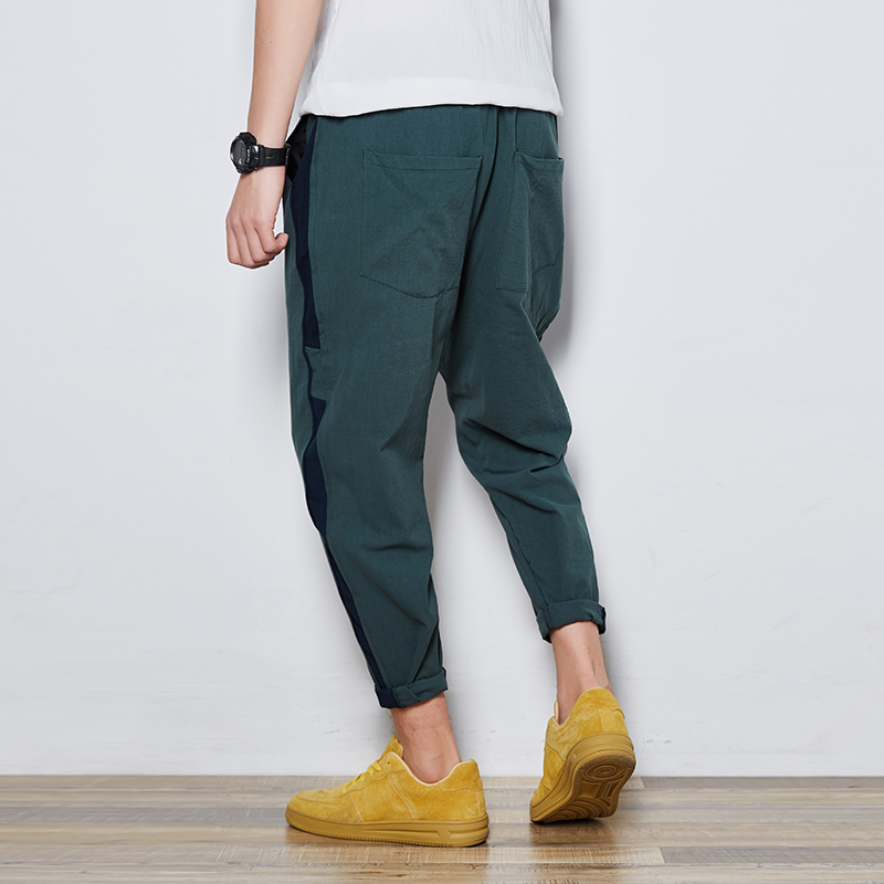 2018 Spring Summer New Japanese Men Fashion Loose Bound Feet Casual Haren Pants Tide Elastic Waist Solid Color Spliced Trousers