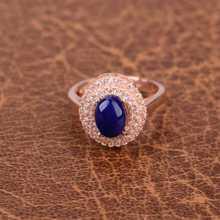 Natural blue lapis lazuli Ring Natural gemstone Ring S925 sterling silver trendy Elegant big round Sunflower women gift Jewelry