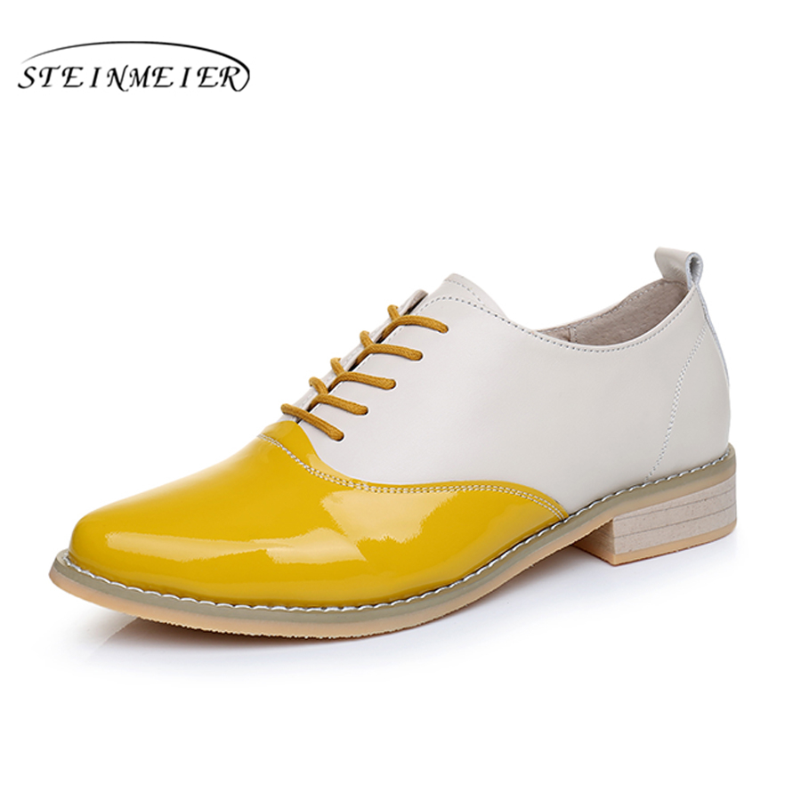 Cow leather big woman shoes US size 9.5 designer vintage flats shoes blue brown handmade 2019 oxford shoes for women fur cow leather big woman us size 9 designer vintage flats shoes round toe handmade grey yellow oxford shoes for women with fur
