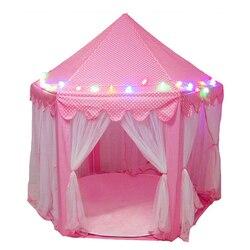 Jogar tenda luzes led brilhante dobrável casa de jogo castelo portátil dobrável brinquedos luminosos ao ar livre barraca bola presente para crianças