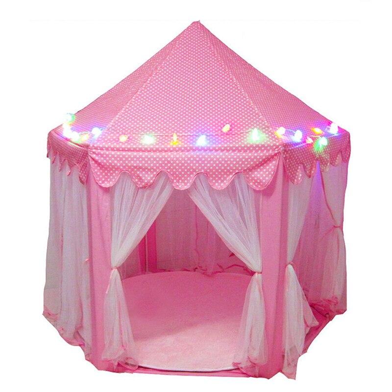 Jouer tente LED lumières rougeoyant pliable jouer maison château Portable pliant lumineux jouets en plein air balle tente cadeau pour enfants enfants