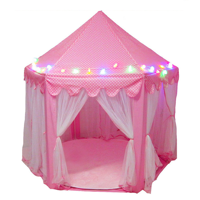 Play Tent LED Lights Glowing Foldable Play House Castle Portable Folding Luminous Toys Outdoor Ball Tent Gift For Children Kids