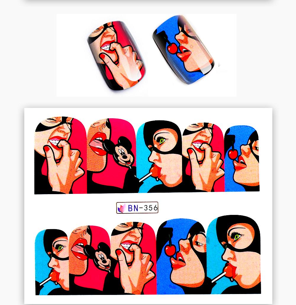 1 Sheet 17 New Nail Fashion Sticker Full Cover Lips Cute Printing Water Transfer Tips Nail Art Decorations 7