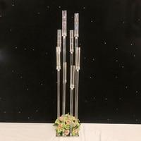 4PCS/LOT Candlestick Metal Candle Holders Transparent Road Lead Candelabra Table Centerpiece Gold Candelabrum Stand Pillar G0501