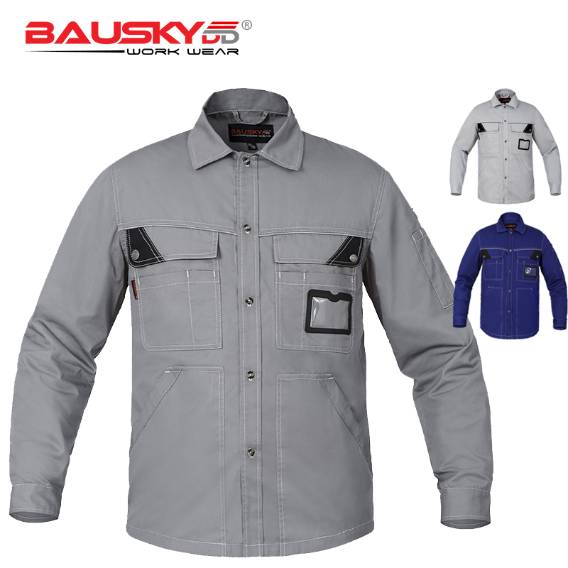 Bauskydd Men's Poly Cotton Long Sleeve Work Shirts Men Workwear Work Uniform Shirts