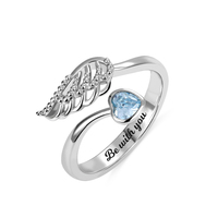 AILIN 925 Sterling Silver Rings for Women Personalized Birthstone Angel wing Ring Personalized Inside Engravings