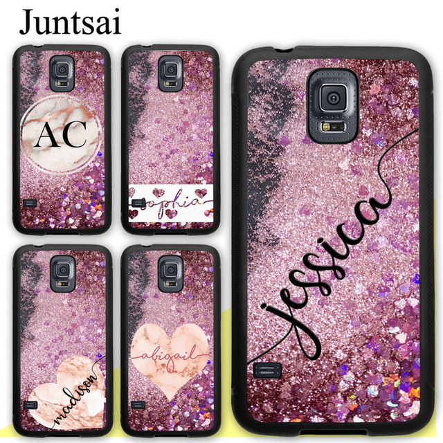 Juntsai PERSONALISED Name ROSE GOLD GLITTER BLING Phone Case For Samsung  Galaxy S5 S6 S7 edge plus S8 S9 plus Note 4 5 8 Cover 7d8bc354e