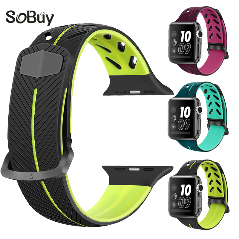 So buy sport Silicone band for apple watch 42mm strap 38mm bracelet Silica gel watchband iwatch series 3/2/1 rubber wrist band