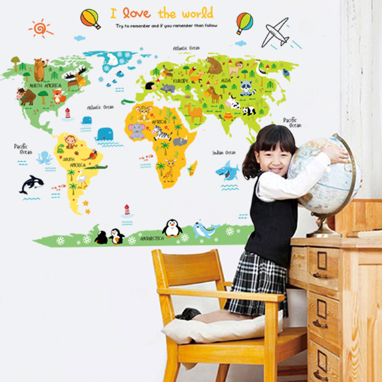 Oussirro sticker wall my cute the little world map children oussirro sticker wall my cute the little world map children bedroom green background removable wall stickers wallpaper kids poni in wall stickers from home gumiabroncs Choice Image