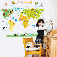 OUSSIRRO Sticker wall my cute the little world map children bedroom green background removable wall stickers wallpaper kids poni