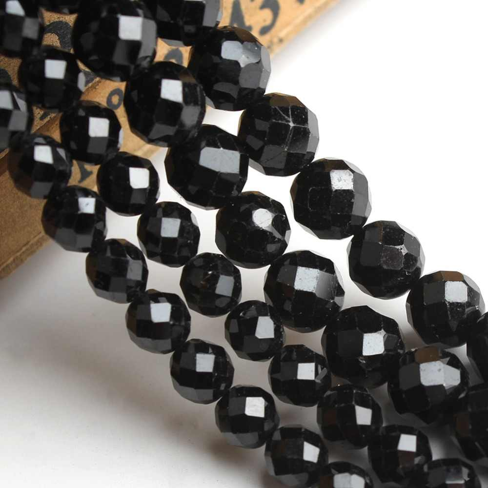 Alami Ragam Hitam Tourmaline Gemstone Beads untuk Perhiasan Membuat DIY Gelang Kalung Bulat Batu Permata Ukuran 6/8 MM 7.5 Cm