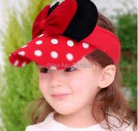 送料無料10個/2015ちょう結びドット空の子供の帽子、 の子供の女の子の美しい野球キャップ