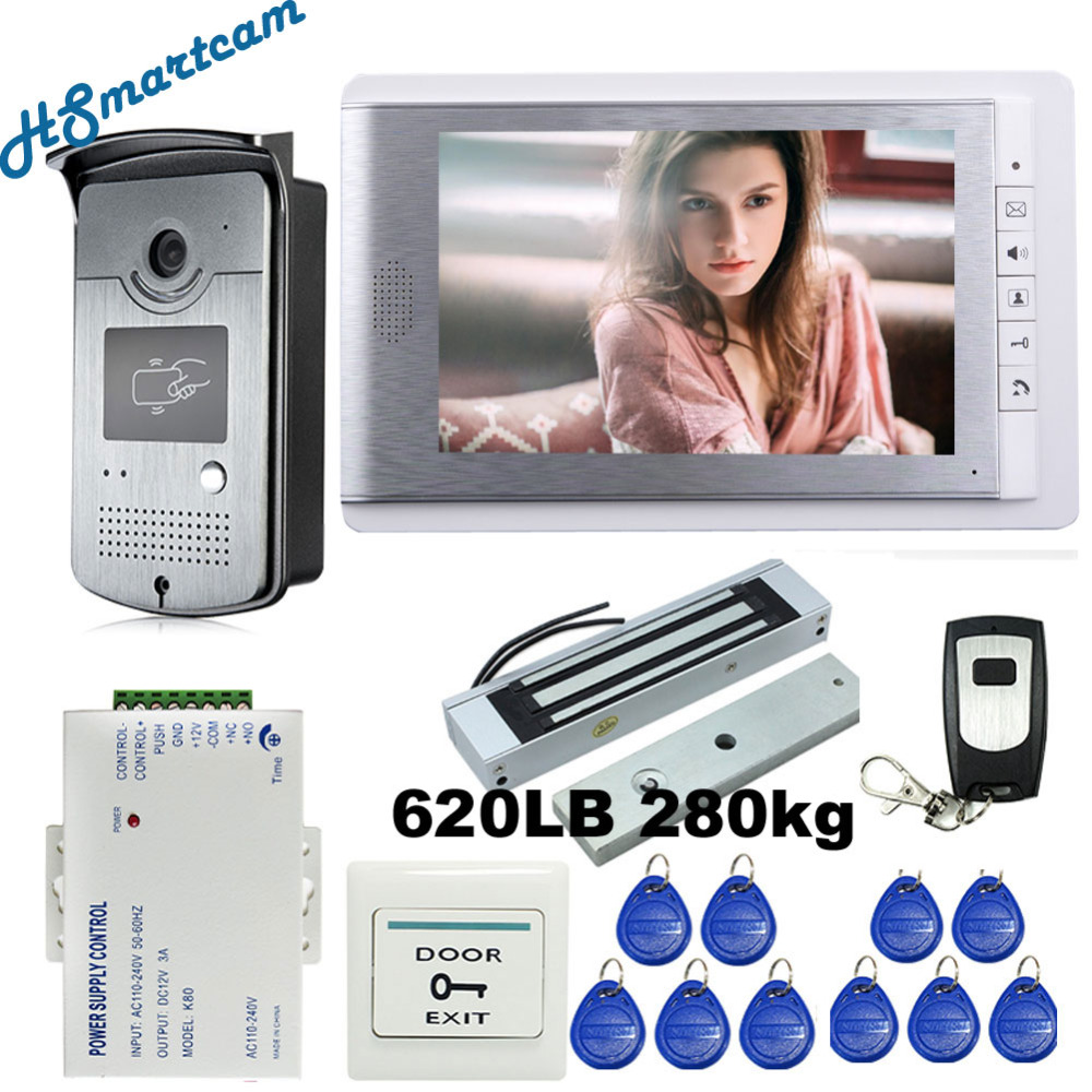 Wired 7 Video Door Phone Intercom Entry System 1 Monitor + RFID Access Camera + 280kg Electric Magnetic Lock Kits FREE SHIPPING diy wired 7 door intercom entry system camera video doorbell intercom electric lock kit for home security f1665