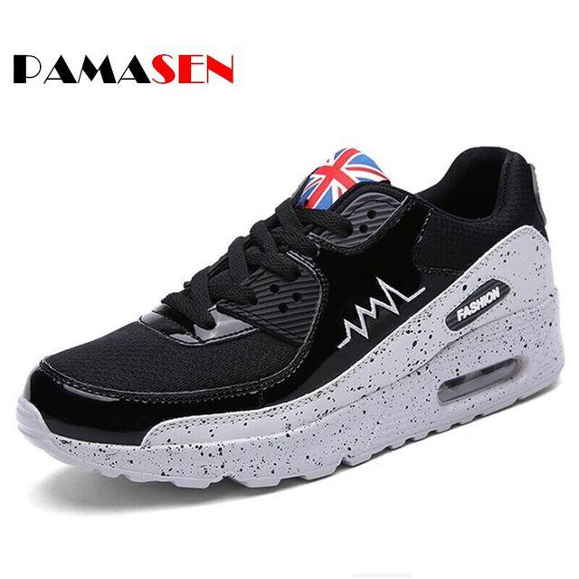 2017 Primavera Hombres Zapatos Casuales Nueva Moda Unisex Zapatos Gris Negro Cordón de Malla Transpirable Para Hombre Entrenadores cordones Plana Zapatos de Los pares