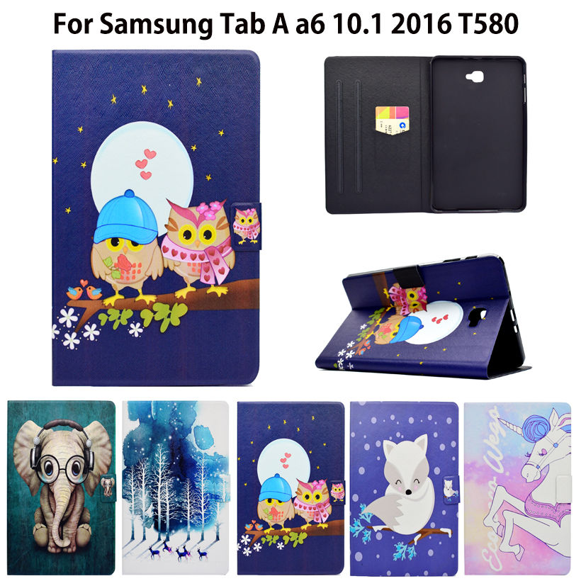 Fashion Animal Flip PU Leathers For Samsung Galaxy Tab A a6 10.1 2016 T580 T585 SM-T585  Case Smart Cover Cases fashion painted flip pu leather for samsung galaxy tab a 10 1 sm t580 t585 t580n 10 1 inch tablet smart case cover pen film