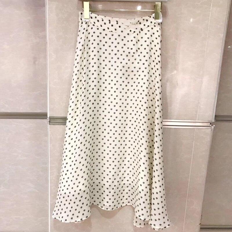 af1ee28286b 2019 Mode Taille D été A Longue Printemps Dot Femmes Jupe Soie Les En Pour  Imprimer ...