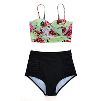 High Waist Swimsuit Bikini Women 2017 Push Up Swimwear Female Sexy Bikini Set Beach Wear Vintage
