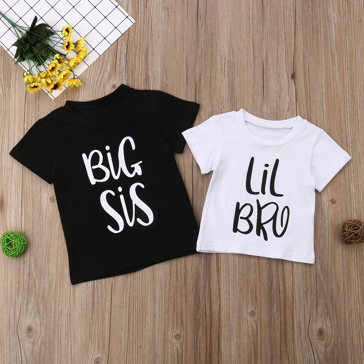 Family Matching Summer T-<font><b>shirt</b></font> Big Sister and Littler Brother Boy Girl Cotton Short Sleeve <font><b>Twins</b></font> Tops Tee image
