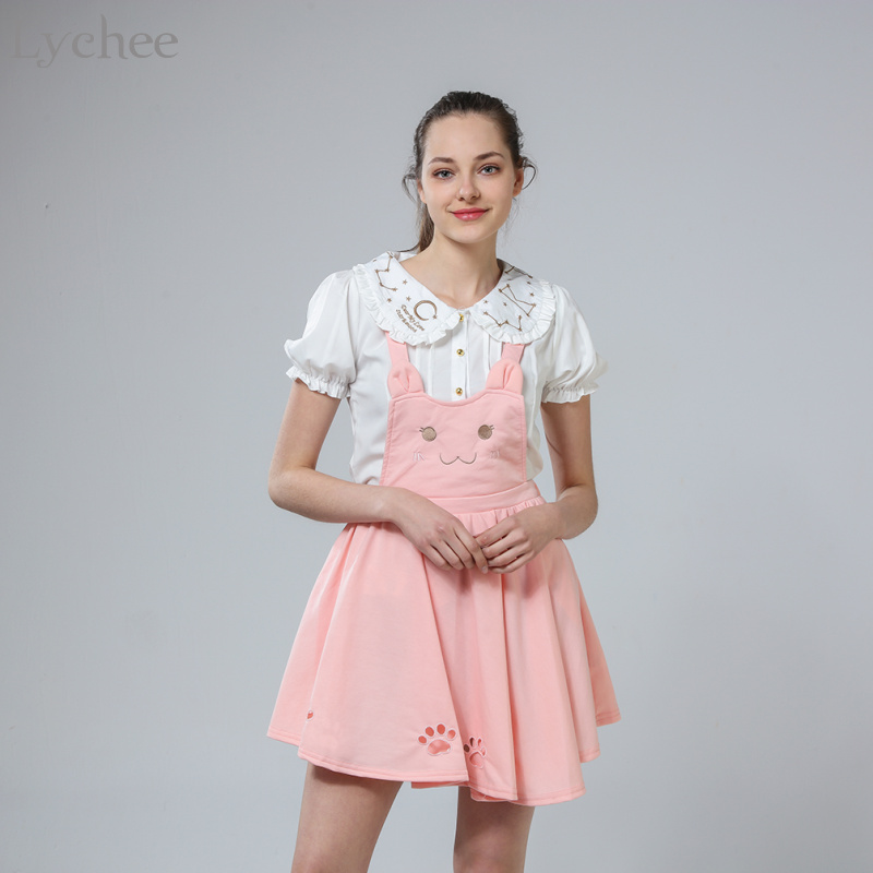Japanese Lolita Summer Autumn Women Suspender Skirt Cat Embroidery Hollow Out Princess Kawaii Sleeveless Skirt Suspender Skirt