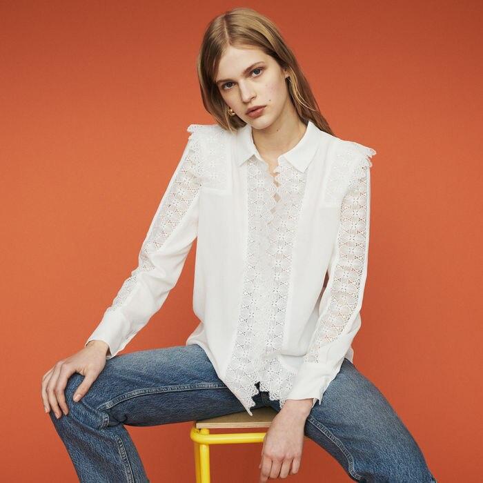 Women Shirt 2019 Spring Summer Sweet Casual Lace Panel Long Sleeve Shirt