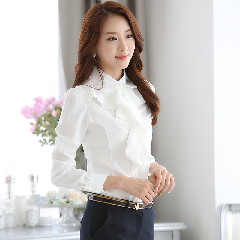Latest Collection Of Korean Style Office Ladies Chiffon Shirt Top Women Elegant Turn-down Collar Long Sleeve Blouses Formal Slim Shirts Blusas Mujer Distinctive For Its Traditional Properties Women's Clothing