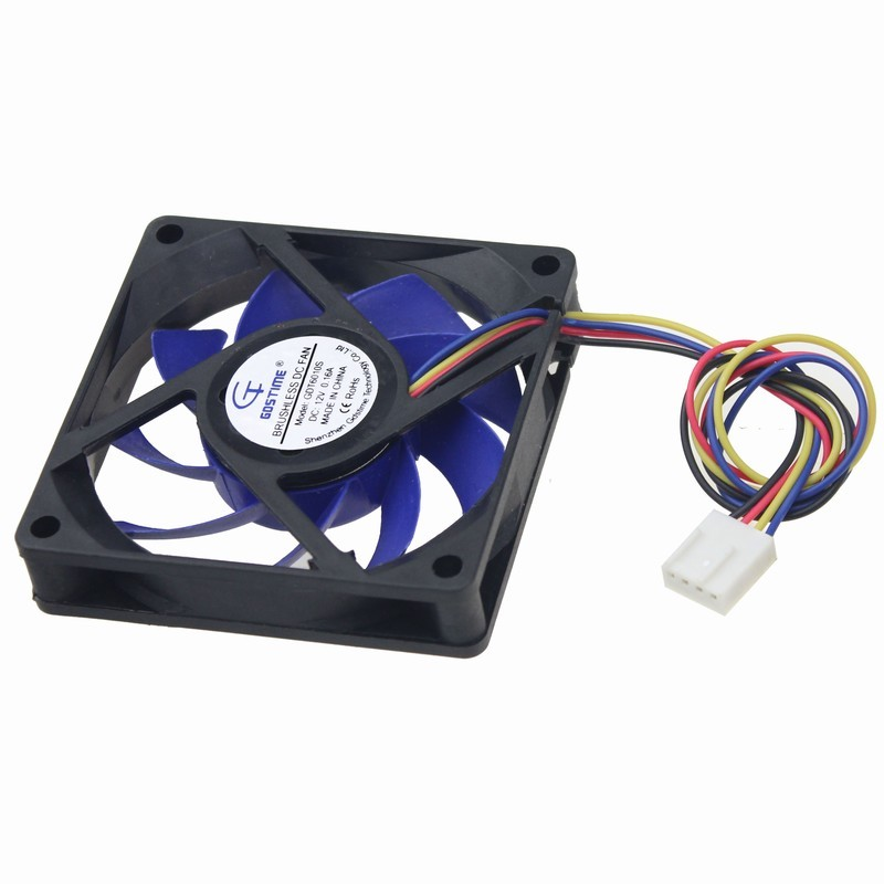 Gdstime 1 pcs 12V 4Pin 70mm 70x70x15mm Fluid Bearing Big Airflow Blue Blade DC Cooling Fan 7cm PC Case Mute Cooler 7015 gdstime 10 pcs dc 12v 14025 pc case cooling fan 140mm x 25mm 14cm 2 wire 2pin connector computer 140x140x25mm