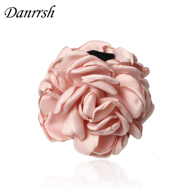 Fashion Girls Elegance Beauty Ribbon Hair Clips Large Fabric Flowers Plastic Hair Claws Headbands For Women Hair Accessories