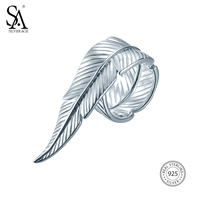 SA SILVERAGE 925 Sterling Silver Adjustable Feather Wedding Rings for Women Fine Jewelry Hiphop Rock Punk Style Silver Rings