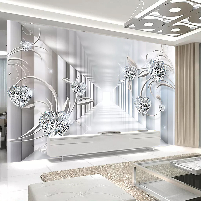 Custom Wall Mural Photo Wallpaper Non-woven 3D Abstract Space Flower Pattern Diamond Jewelry Living Room TV Backdrop Home Decor